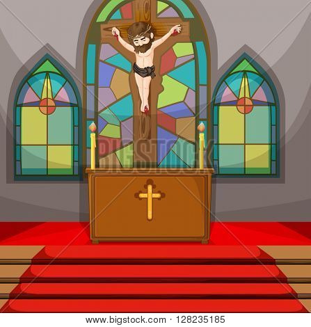Jesus christ symbol in the church illustration