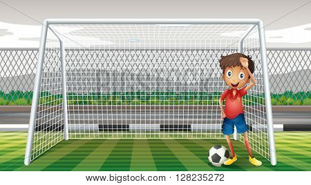 Goalkeeper standing at the goal illustration