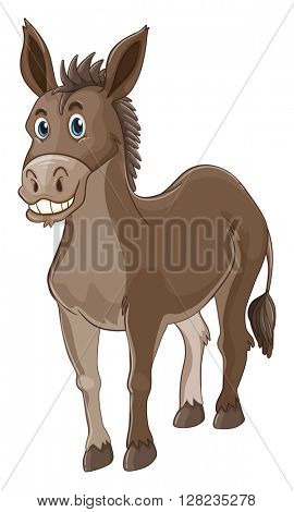 Donkey with happy face illustration