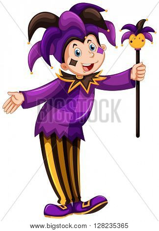 Jester in purple costume illustration
