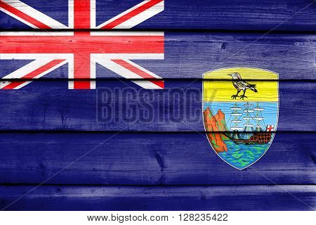 Flag Of Saint Helena, Painted On Old Wood Plank Background