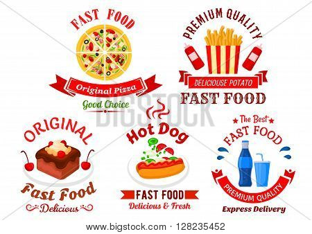 Italian pizza, hot dog, french fries, sweet soft drink and chocolate cake cartoon icons for fast food cafe, pizzeria and food delivery service design, decorated by ribbon banners and headers with stars