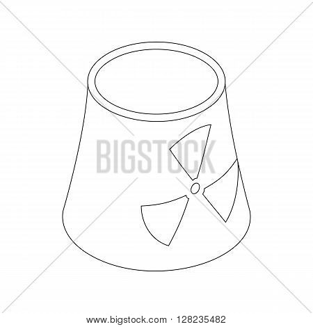 Atomic power station with radiation sign icon in isometric 3d style on a white background