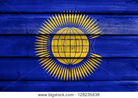 Flag Of The Commonwealth Of Nations, Painted On Old Wood Plank Background