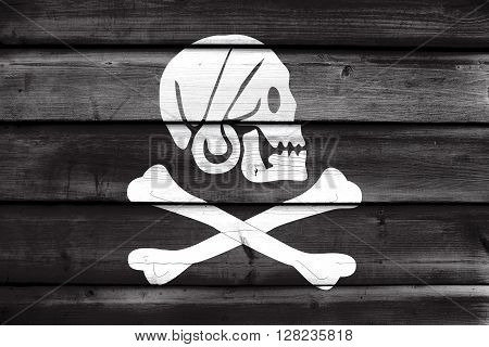 Henry Every Pirate Flag, Painted On Old Wood Plank Background