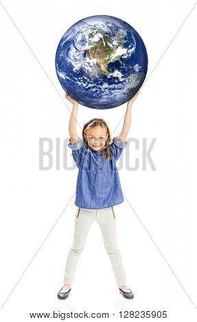 Cute little girl holding the world on her hands