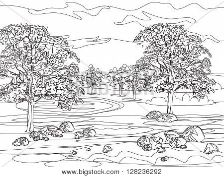 illustration with decorative lines.Vintage stylized landscape painting for color. Black and white coloring pages for adults. Vector illustration.