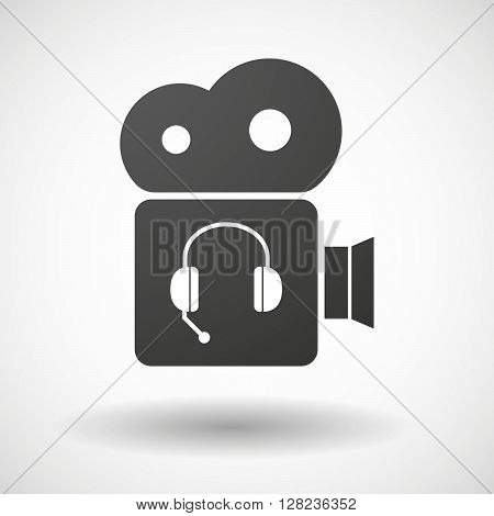 Isolated Cinema Camera Icon With  A Hands Free Phone Device