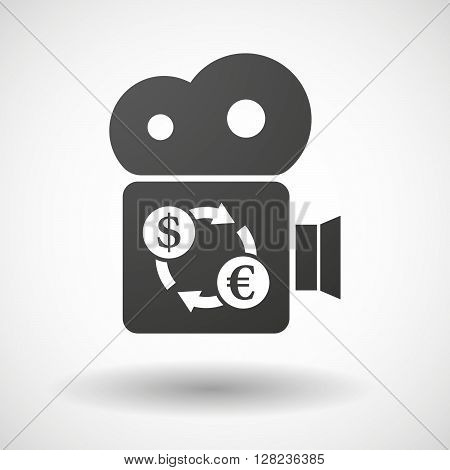 Isolated Cinema Camera Icon With A Dollar Euro Exchange Sign