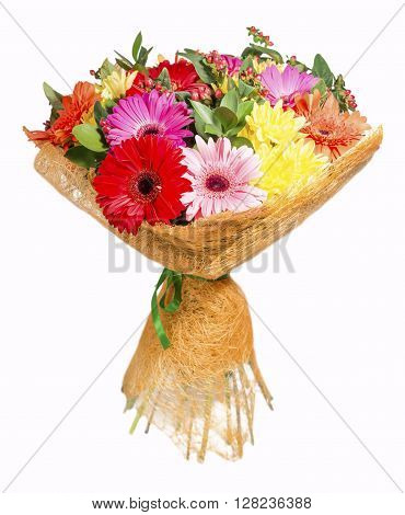 bright bouquet with gerberas and chrysanthemum on a white background