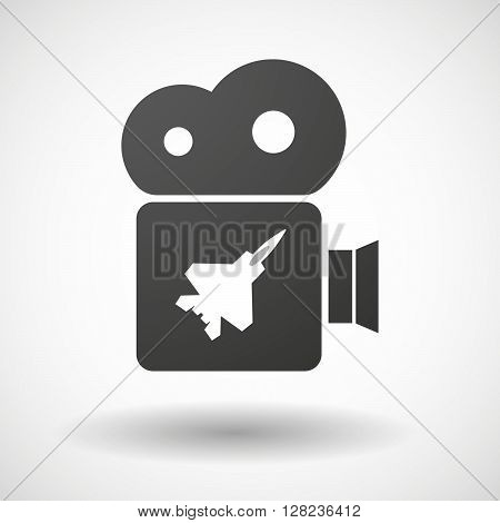 Isolated Cinema Camera Icon With A Combat Plane