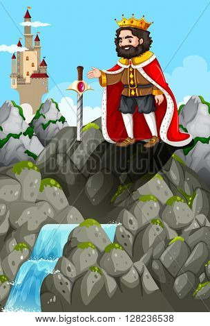 King and sword in the stone illustration