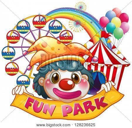 Jester holding funpark banner illustration
