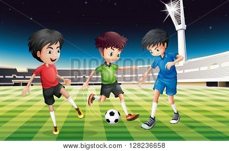 Football players playing ball in the field at night illustration