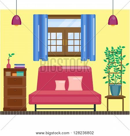 Living room interior with window and curtain. Comfortable hall. Vector home interior in flat design. Sofa and lamp, bookcase and domestic plant on chair. Home vector illustration. Living room concept