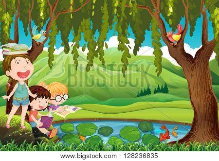 Children reading books by the pond illustration