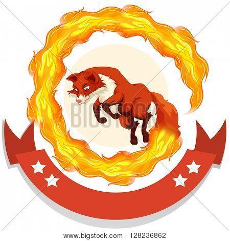 Fox jumping through fire hoop illustration
