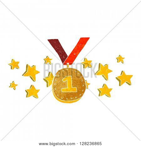 freehand retro cartoon first place medal