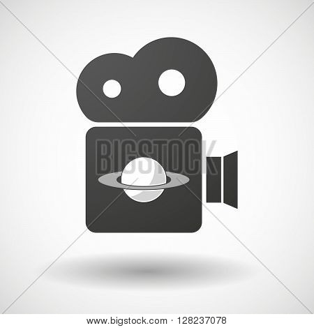Isolated Cinema Camera Icon With The Planet Saturn