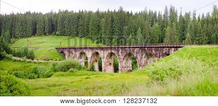 Old Railway. Green landscape. Ukraine Carpathians view
