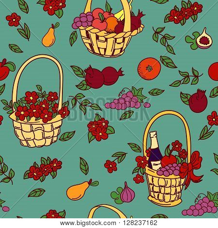 Summer seamless pattern bakground. Colorful baskets with fruit flowers and gifts. Harvest seamless pattern. Vector illustration.
