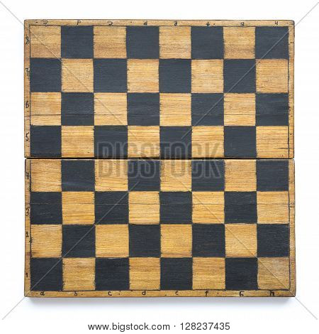 vintage wooden chessboard isolated on white background