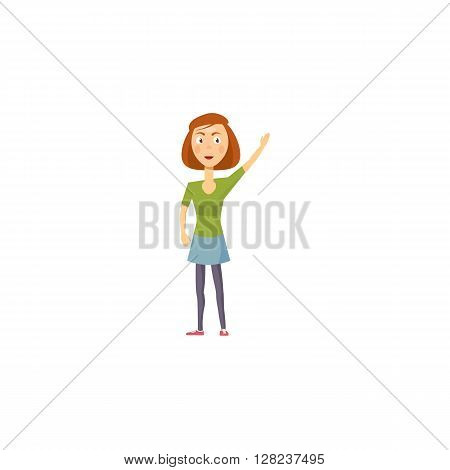 Girl icon in cartoon style on a white background