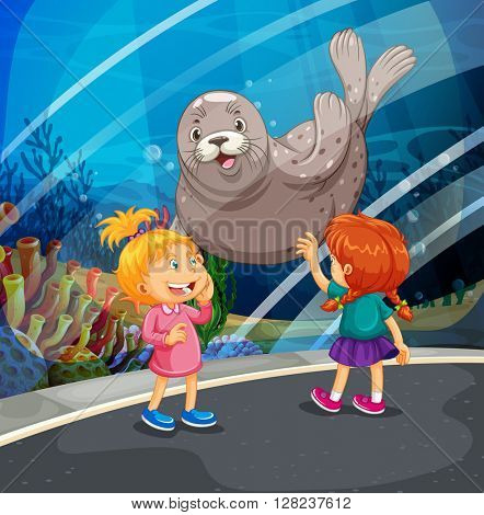 Two girls looking at seal swimming illustration