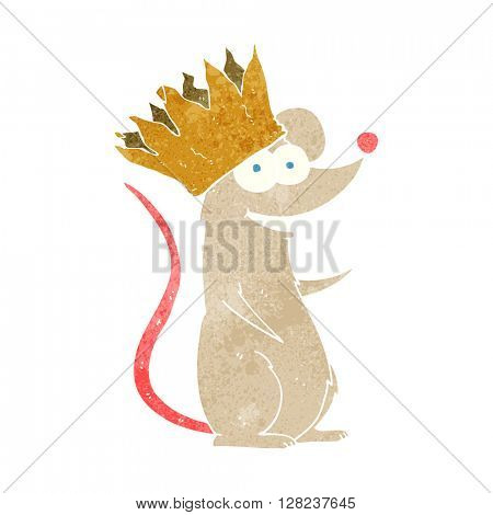 freehand retro cartoon mouse wearing crown