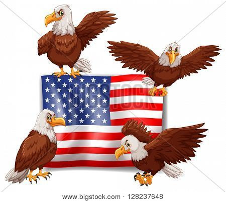 American flag and four eagles illustration