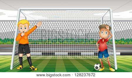 Goalkeeper and referee in the field illustration