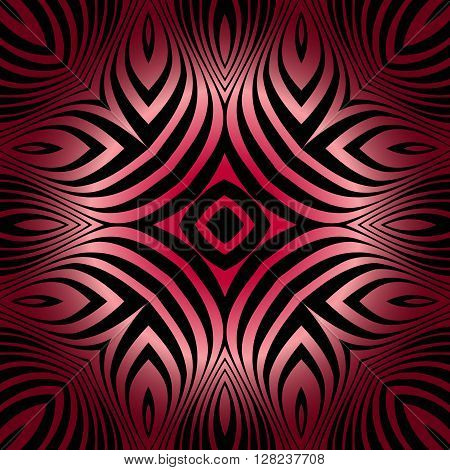 texture pattern illusion of the lines in the form of a symmetrical convex rhombus in a square red gradient