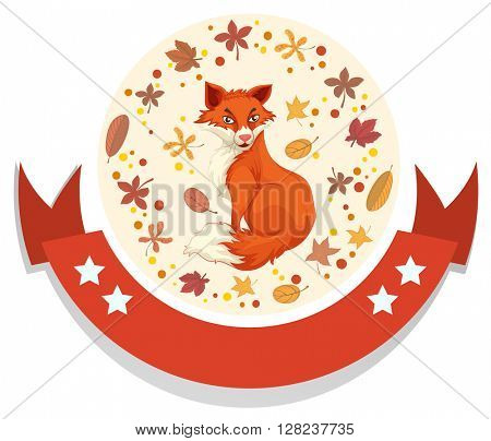 Logo template with fox and leaves illustration