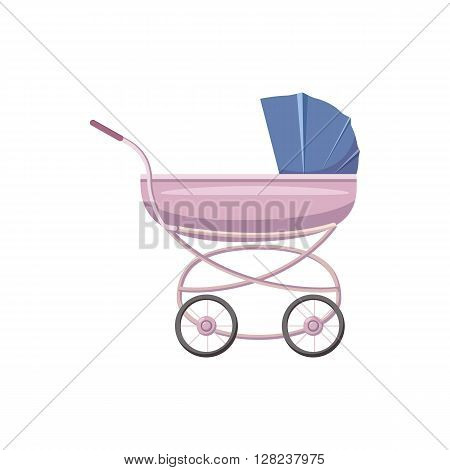 Baby stroller icon in cartoon style on a white background