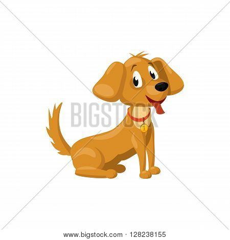 Brown dog icon in cartoon style on a white background