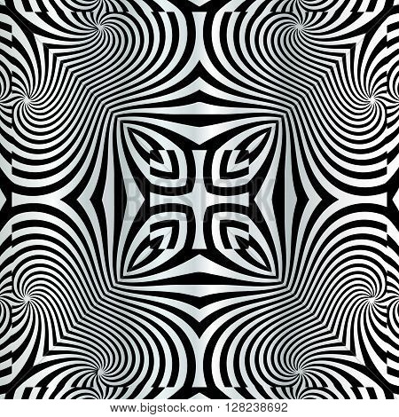 Design spiral movement background. Abstract backdrop in op art style. Vector art