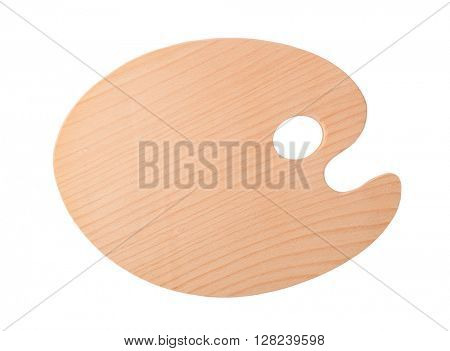 Wooden art palette, isolated on white background