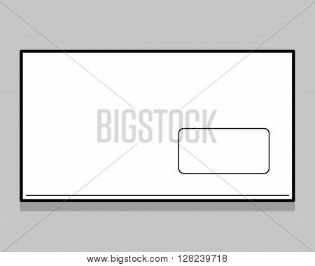 Thin line white envelope with transparent  window. Tamplate for identy design. Blank envelope isolated on light gray background with clipping path