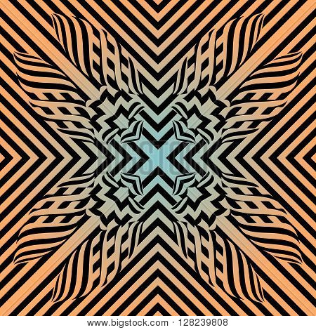 Abstract illusion texture pattern lines in the form of a convex symmetrical pattern in a square