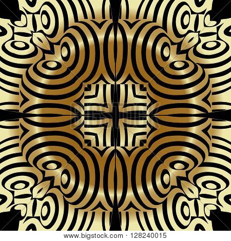 Abstract illusion texture pattern lines in the form of a convex symmetrical circle pattern in a square on a gold background