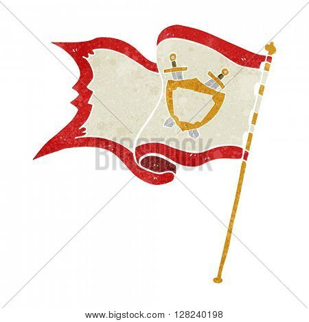 freehand retro cartoon flag blowing in wind