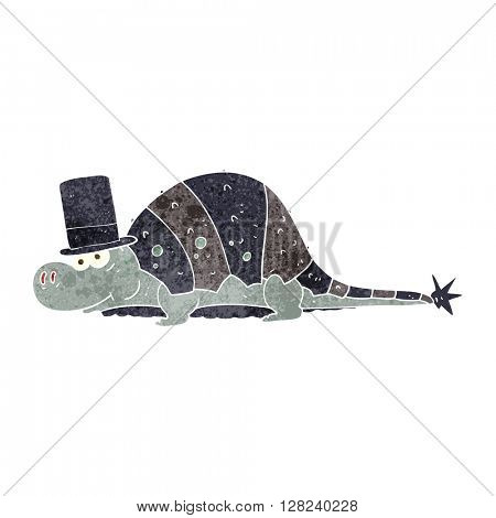 freehand retro cartoon dinosaur in top hat