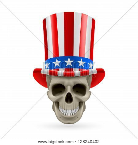 Human skull wearing Uncle Sam hat on white background.