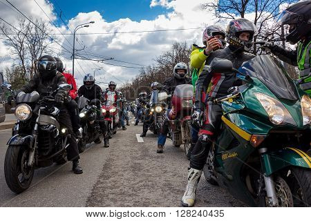 Moscow Russia - April 23 2016: Motorcyclists open the spring season. The group of motorcyclists on the road. Russian riders.