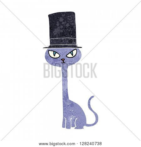 freehand retro cartoon posh cat