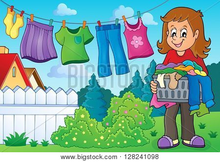 Woman with laundry outdoor - eps10 vector illustration.