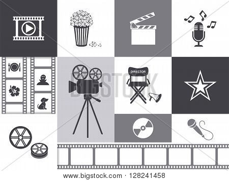 Vector retro movie and music icons grayscale collection