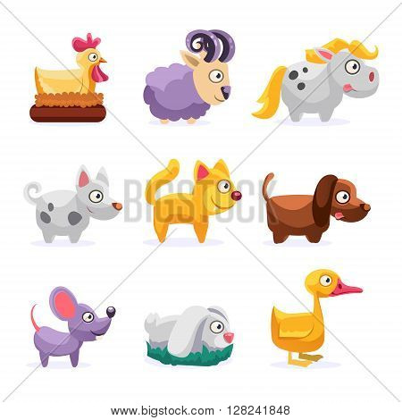 Farm Animals Set Simplified Cute Illustration In Childish Colorful Flat Vector Design Isolated On White Background
