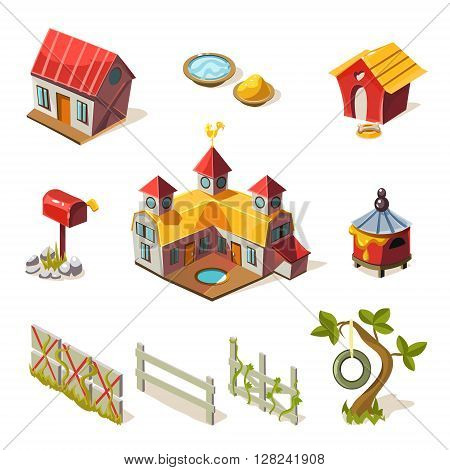 Farm Elements Collection Simplified Cute Illustration In Childish Colorful Flat Vector Design Isolated On White Background