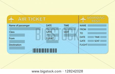 Airline boarding pass ticket. Travel concept. Detailed blank of airplane ticket. Colorful vector illustration.
